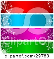Clipart Illustration Of A Set Of Four Red Blue Purple And Green Blank Labels Headers Or Banners Bordered With Floral Designs And Circles