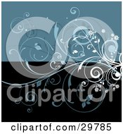 Clipart Illustration Of Blue And White Flowering Curly Vines On A Divided Background Of Blue And Black
