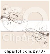 Clipart Illustration Of A Blank Text Bar In The Center Of A Beige Background With Brown Vines