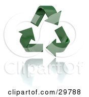 Clipart Illustration Of A Triangle Of Green Curving Arrows Over A Reflective White Surface