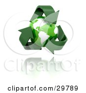 The Green Planet Earth Inside A Triangle Of Recycle Arrows Over A Reflective White Surface