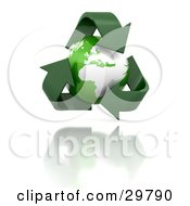 Clipart Illustration Of A Triangle Of Green Arrows Around Planet Earth Over A Reflective White Surface by KJ Pargeter