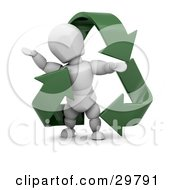 Clipart Illustration Of A White Character Standing Inside A Triangle Of Green Recycle Arrows by KJ Pargeter
