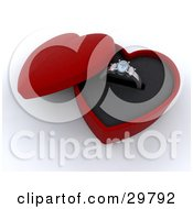 Clipart Illustration Of A Silver Diamond Wedding Or Engagement Ring Resting In An Open Red Heart Shaped Box by KJ Pargeter