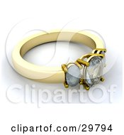 Gold Diamond Wedding Or Engagement Ring Resting On A White Surface