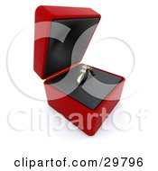 Clipart Illustration Of A Gold Diamond Wedding Or Engagement Ring Resting In An Open Red Box by KJ Pargeter