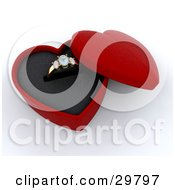 Clipart Illustration Of A Gold Diamond Wedding Or Engagement Ring Resting In An Open Red Heart Shaped Box by KJ Pargeter