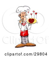Clipart Illustration Of A Male Chef Covering His Mouth And Presenting A Pizza With Pepperoni Slices Forming A Heart Little Hearts Steaming From The Top by Spanky Art #COLLC29804-0019