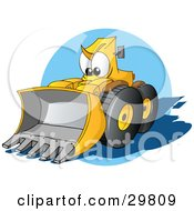Clipart Illustration Of A Tough Yellow Bulldozer Character With A Loader Moving Forward by Holger Bogen #COLLC29809-0045