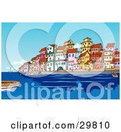 Clipart Illustration Of Boats And People In The Harbor Near A Mediterranean Waterfront Town With Colorful Buildings by Holger Bogen #COLLC29810-0045
