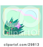 Clipart Illustration Of A Butterfly Near Flowers And Grasses Over A Green Background With A Wave Of Pink And A Border by bpearth