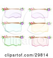Clipart Illustration Of A Set Of Six Purple Yellow Blue Green And Pink Blank Signs With Branches And Flowers