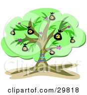 Clipart Illustration Of A Green Financial Money Tree Growing Money Sacks by bpearth