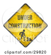 Clipart Illustration Of A Yellow Cautionary Road Sign With Under Construction Text And A Worker Digging