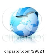 Clipart Illustration Of A Blue Arrow Circling Planet Earth With Europe Featured