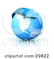 Clipart Illustration Of A Blue Arrow Circling Planet Earth With North America Featured