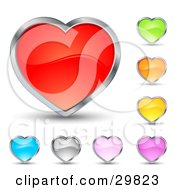 Clipart Illustration Of A Set Of Red Green Orange Yellow Purple Pink Silver And Blue Hearts With Chrome Borders