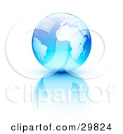 Clipart Illustration Of A Blue Earth With A Grid Pattern Over A Reflective White Surface by beboy