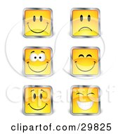 Clipart Illustration Of A Set Six Yellow Square Happy And Sad Emoticon Faces With Silver Borders
