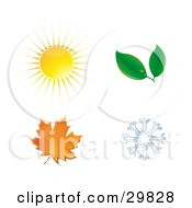 Clipart Illustration Of A Summer Sun Spring Leaves Autumn Maple Leaf And Winter Snowflake