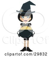 Black Haired Witch Carrying A Cauldron Full Of Gold Coins