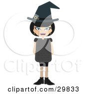 Clipart Illustration Of A Laughing Evil Blue Eyed Black Haired Female Witch With Stars On Her Hat Holding Her Arms Behind Her Back by Melisende Vector