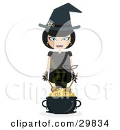 Laughing Female Witch Wearing Stars On Her Hat Mixing Gold Coins In A Cauldron