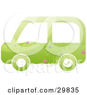 Clipart Illustration Of A Vine With Pink And Blue Flowers On A Green Biofuel Car