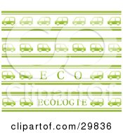 Clipart Illustration Of A Background Of Green Cars Driving In Rows With Eco And Ecologie Text