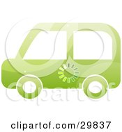 Clipart Illustration Of A Green Electrical Car With An Energy Monitor by Melisende Vector