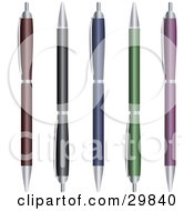 Set Of Red Black Blue Green And Purple Ballpoint Pens With Push Tops
