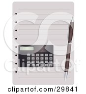 Clipart Illustration Of A Pen And Calculator Resting On Blank Lined Pages Of A Notebook