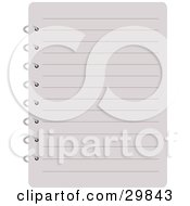 Clipart Illustration Of A Blank Lined Page Of A Notebook Spiral Bound On The Side