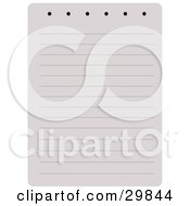 Clipart Illustration Of A Blank Lined Page Of A Notebook With Holes For A Spiral On Top