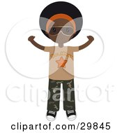 Clipart Illustration Of An African American Teenage Boy In Camo Pants And A Soul Star Shirt Holding His Arms Out by Melisende Vector