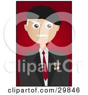 Clipart Illustration Of A Male Senior Citizen Veteran With Military Medals On His Jacket Over A Red Background With A Black Border