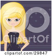 Clipart Illustration Of A Beautiful Blond Caucasian Woman In A Sparkling Dress Standing Over A Shiny Purple Star Background