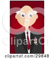 Clipart Illustration Of A Bald Senior Veteran Man Wearing Medals On His Jacket Over A Red Background With A Black Border by Melisende Vector