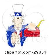 Clipart Illustration Of Uncle Sam Pointing Outwards At The Viewer And Holding Up A Gas Can