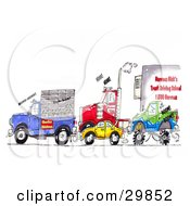 Clipart Illustration Of A Traffic Jam Of Animal Transport Trucks Big Rigs Cars And Monster Trucks by Spanky Art