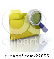 Magnifying Glass Searching The Contents Of A Yellow File Folder