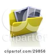 Clipart Illustration Of An Open Yellow Folder With Text Documents