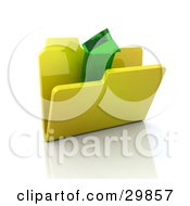 Clipart Illustration Of A Green Transparent Arrow Emerging From A Yellow Folder