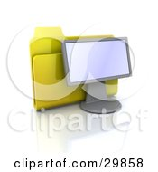 Yellow Folder Resting Behind A Computer Monitor