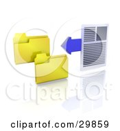 Word Document And A Blue Arrow Beside Two Yellow Folder Icons