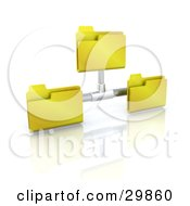 Clipart Illustration Of Three Yellow Folders Sharing Files On A Network by KJ Pargeter