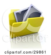 Clipart Illustration Of Two Photographs In An Open Yellow Folder by KJ Pargeter