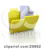 Clipart Illustration Of A Blank Document In A Yellow Folder by KJ Pargeter