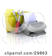Computer Printer With Tools And A Yellow File Folder