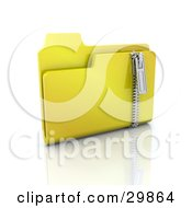 Clipart Illustration Of A Yellow Zip Folder With Compressed Files by KJ Pargeter